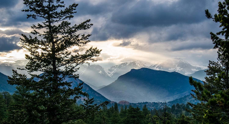 Estes Park Mountain Vista, Light Shining Through Clouds