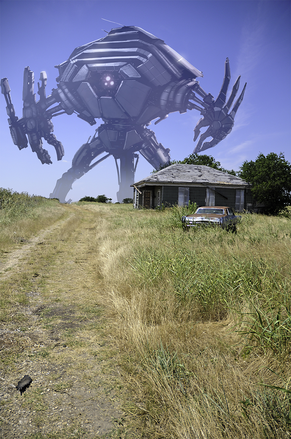 giant robot in a field in the country rusted car